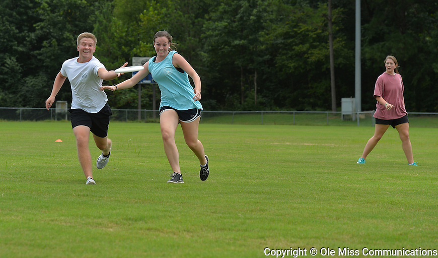 Honors College freshmen play Ultimate at the intramural fields. Photo by Robert Jordan/Ole Miss Communications