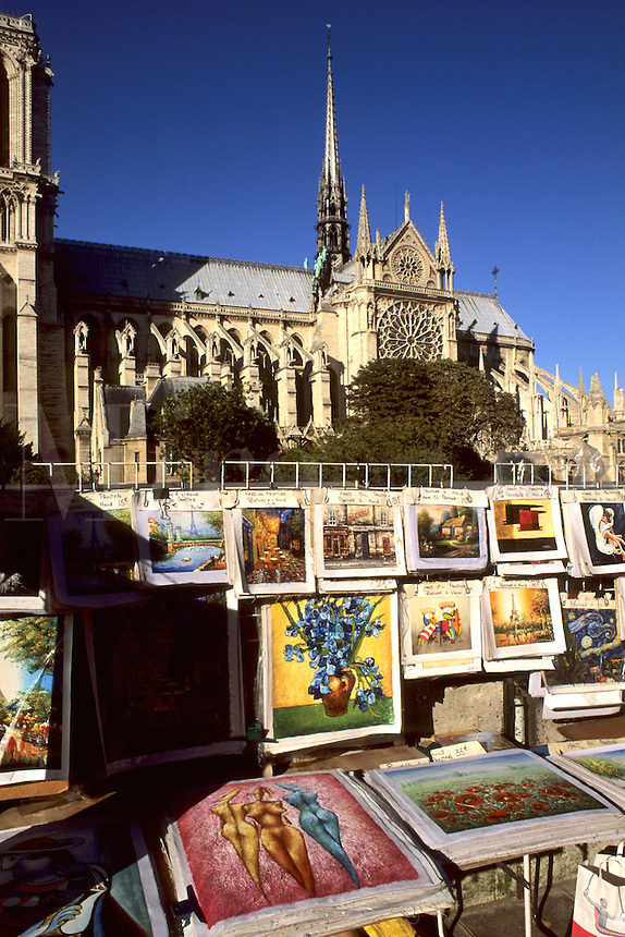 France Wonderful Art sellers on River Seine at Notre Dame Cathedral in Paris France