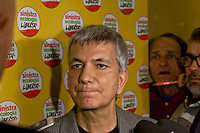 Rome, Italy 16th Janury 2016<br /> Nichi Vendola, National President of Left Ecology Freedom, with journalists, during the assembly of the national party of  Left Ecology and Freedom.