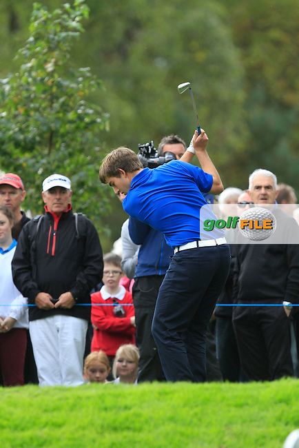 Bradley Neil (SCO) on the 17th tee during Day 2 Singles for the Junior Ryder Cup 2014 at Blairgowrie Golf Club on Tuesday 23rd September 2014.<br /> Picture:  Thos Caffrey / www.golffile.ie