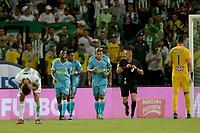 MEDELLIN - COLOMBIA, 01-02-2020: Jugadores del Jaguares celebran después de anotar el segundo gol durante partido por la fecha 3 de la Liga BetPlay DIMAYOR I 2020 entre Atlético Nacional y Jaguares de Córdoba jugado en el estadio Atanasio Girardot de la ciudad de Medellín. / Players of Jaguares celebrate after scoring the second goal during match for the date 3 as part of BetPlay DIMAYOR League I 2020 between Atletico Nacional and Jaguares de Cordoba played at Atanasio Girardot stadium in Medellín city. Photo: VizzorImage / Leon Monsalve / Cont