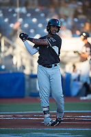 Salem-Keizer Volcanoes designated hitter Wander Franco (23) takes a warm up swing during a Northwest League game against the Hillsboro Hops at Ron Tonkin Field on September 1, 2018 in Hillsboro, Oregon. The Salem-Keizer Volcanoes defeated the Hillsboro Hops by a score of 3-1. (Zachary Lucy/Four Seam Images)