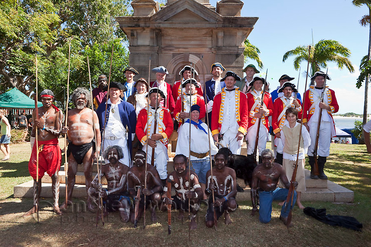 Actors from the re-enactment of Captain Cook's landing at Cooktown - part of the annual Discovery Festival (held in June).  Cooktown, Queensland, Australia