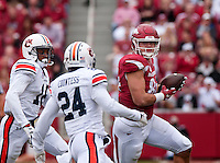 NWA Democrat-Gazette/BEN GOFF @NWABENGOFF<br /> Hunter Henry, Arkansas tight end, runs after catching a pass in the first quarter on Saturday Oct. 24, 2014 during the game in Razorback Stadium in Fayetteville.