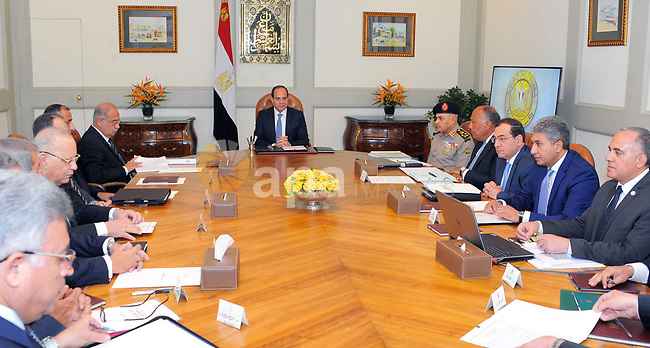 Egyptian President Abdel Fattah al-Sisi chairs a meeting, in Cairo, Egypt on July 15, 2017. Photo by Egyptian President Office