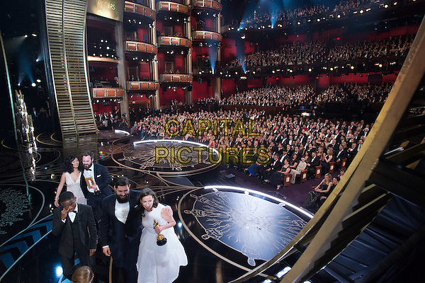 Benjamin Cleary and Serena Armitage accept the Oscar&reg; for Best live action short film, for work on &ldquo;Stutterer&rdquo; during the live ABC Telecast of The 88th Oscars&reg; at the Dolby&reg; Theatre in Hollywood, CA on Sunday, February 28, 2016.<br /> *Editorial Use Only*<br /> CAP/PLF<br /> Supplied by Capital Pictures