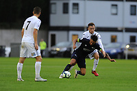 Monday 20th August 2018<br /> Pictured: Derby County's Kellan Gordon is fouled by Swansea City's Ryan Blair<br /> Re: Swansea City U23 v Derby County U23 Premier League 2 match at the Landore Training facility, Swansea, Wales, UK