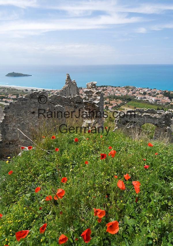 Italy, Calabria, Cirella: view from Cirella Vecchia (castle ruin) at beach resort Cirella and island Isola di Cirella