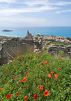 Italy, Calabria, Cirella: view from Cirella Vecchia (castle ruin) at beach resort Cirella and island Isola di Cirella