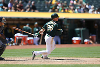 OAKLAND, CA - JULY 19:  Matt Chapman #26 of the Oakland Athletics bats against the Tampa Bay Rays during the game at the Oakland Coliseum on Wednesday, July 19, 2017 in Oakland, California. (Photo by Brad Mangin)