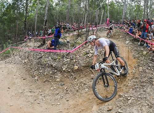 12th April 2018, Nerang Mountain Bike Trails, Gold Coast, Australia; Commonwealth Games day 8; Samual Gaze of New Zealand competes during the Men's Cross-country Cycling Mountain Bike Race