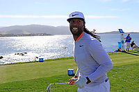 NFL Arizona Cardinals wide receiver Larry Fitzgerald runs off the 8th tee during Sunday's Final Round of the 2018 AT&amp;T Pebble Beach Pro-Am, held on Pebble Beach Golf Course, Monterey,  California, USA. 11th February 2018.<br /> Picture: Eoin Clarke | Golffile<br /> <br /> <br /> All photos usage must carry mandatory copyright credit (&copy; Golffile | Eoin Clarke)