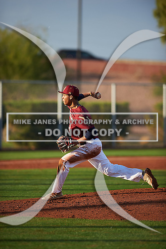 Justin Hue (13) of Calvary Christian Academy High School in Lauderdale Lakes, Florida during the Under Armour All-American Pre-Season Tournament presented by Baseball Factory on January 14, 2017 at Sloan Park in Mesa, Arizona.  (Zac Lucy/Mike Janes Photography)