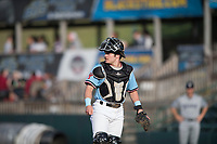 Hickory Crawdads catcher Matt Whatley (19) looks around the field during a game with the Asheville Tourists at L.P. Frans Stadium on May 8, 2019 in Hickory, North Carolina. The Tourists defeated the Crawdads 7-6. (Tracy Proffitt/Four Seam Images)