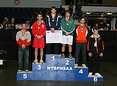 Cody Hutcheson (1st - Bath); Tyler Beckwith (2nd - Greene); Max O'Meara (3rd - Red Hook); Matt King (4th - Wilson); Josh Nephew (5th - Beekmantown); Zak Griffith (6th - Warsaw) pose on the podium for the Division Two 171 weight class during the NY State Wrestling Championship finals at Blue Cross Arena on March 9, 2009 in Rochester, New York.  (Copyright Mike Janes Photography)