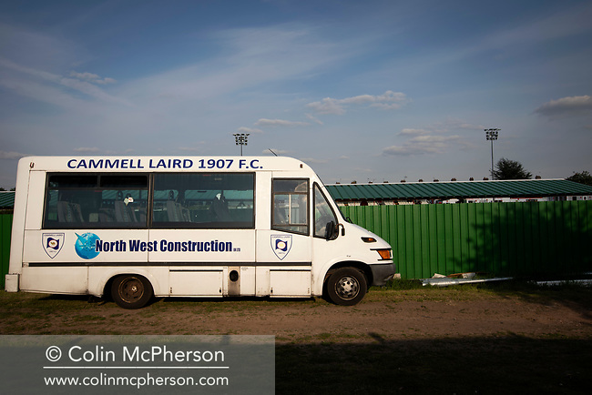 The visiting team's bus outside Yockings Park before Whitchurch Alport hosted Cammell Laird 1907 in the 2017-18 North West Counties Division One play-off final. Alport were formed in 1946 and were named after Alport Farm, Whitchurch, which had been the home of a local footballer Coley Maddocks who had been killed in action in the war. The home team won the match 2-1 watched by a crowd of 773, a club record attendance.