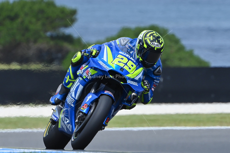October 27, 2018: Andrea Iannone (ITA) on the No.29 Suzuki from Team Suzuki Ecstar during practice session three at the 2018 MotoGP of Australia at Phillip Island Grand Prix Circuit, Victoria, Australia. Photo Sydney Low