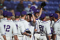 Jordan Sergent (9) of the High Point Panthers is congratulated by his teammates after hitting a two-run home run against the NJIT Highlanders at Williard Stadium on February 19, 2017 in High Point, North Carolina. The Panthers defeated the Highlanders 6-5. (Brian Westerholt/Four Seam Images)