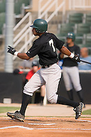 Greg Veloz (7) of the Savannah Sand Gnats follows through on his swing at Fieldcrest Cannon Stadium in Kannapolis, NC, Sunday July 20, 2008. (Photo by Brian Westerholt / Four Seam Images)