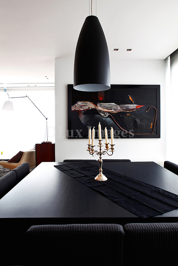 contemporary black dining room