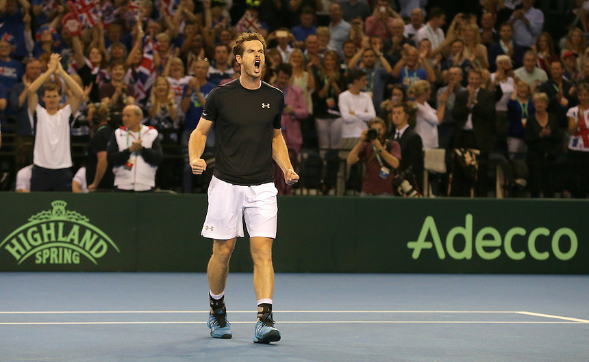 Andy Murray celebrates his victory against Thanasi Kokkinakis - Andy Murray def Thanasi Kokkinakis 6-3, 6-0, 6-3<br /> <br /> Photographer Stephen White/CameraSport<br /> <br /> International Tennis - 2015 Davis Cup by BNP Paribas - World Group Semi-Final - Great Britain v Australia - Day 1 - Friday 18th September 2015 - The Emirates Arena - Glasgow<br /> <br /> &copy; CameraSport - 43 Linden Ave. Countesthorpe. Leicester. England. LE8 5PG - Tel: +44 (0) 116 277 4147 - admin@camerasport.com - www.camerasport.com.