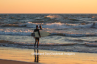 64795-01313 Surfers on beach at sunset on Lake Michigan, Ottawa County, Grand Haven, MI