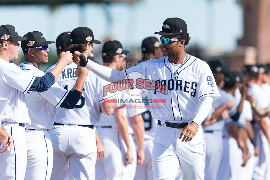 Peoria Javelinas right fielder Buddy Reed (85), of the San Diego Padres organization, during player introductions before the Arizona Fall League Championship game against the Salt River Rafters at Scottsdale Stadium on November 17, 2018 in Scottsdale, Arizona. Peoria defeated Salt River 3-2 in 10 innings. (Zachary Lucy/Four Seam Images)