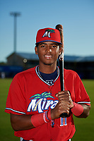 Fort Myers Miracle first baseman Lewin Diaz (11) poses for a photo before a game against the Dunedin Blue Jays on April 17, 2018 at Dunedin Stadium in Dunedin, Florida.  Dunedin defeated Fort Myers 5-2.  (Mike Janes/Four Seam Images)