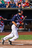 Quad Cities River Bandits designated hitter Jonathan Lacroix (13) swings at a pitch during a Midwest League game against the Peoria Chiefs on May 27, 2018 at Modern Woodmen Park in Davenport, Iowa. Quad Cities defeated Peoria 8-3. (Brad Krause/Four Seam Images)
