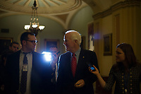 United States Senate Majority Whip John Cornyn (Republican of Texas) speaks with reporters outside the US Senate chamber in the US Capitol in Washington, DC as debate continues on the tax cut bill on Friday, December 1, 2017.<br /> Credit: Alex Edelman / CNP /MediaPunch