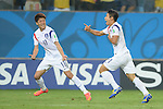 (L-R) Lee Chung-Yong, Lee Keun-Ho (KOR),<br /> JUNE 17, 2014 - Football / Soccer :<br /> Lee Keun-Ho of South Korea celebrates with his teammate Lee Chung-Yong after scoring the opening goal during the FIFA World Cup Brazil 2014 Group H match between Russia 1-1 South Korea at Arena Pantanal in Cuiaba, Brazil. (Photo by SONG Seak-In/AFLO)