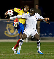Jozy Altidore (17) of the USMNT fights for the ball with Aquivaldo Mosquera (2) of Colombia during an international friendly at PPL Park in Chester, PA.  The U.S. tied Columbia, 0-0.