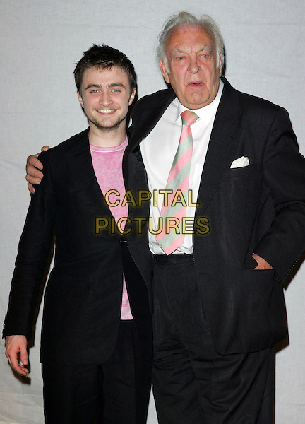 DANIEL RADCLIFFE & SIR DONALD SINDEN.At Theatre Museum Covent Garden to present Theatre Book Prize 2006, London, England..April 12th 2007.half length black suit jacket pimples bad skin acne beard stubble facial hair .CAP/ROS.©Steve Ross/Capital Pictures