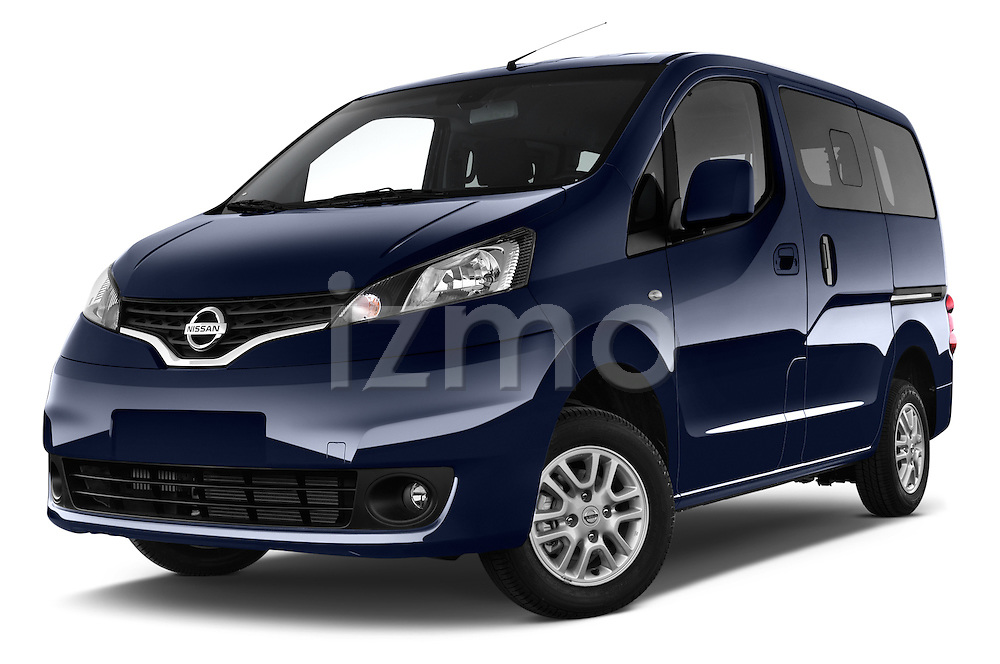 Stock pictures of low aggressive front three quarter view of a 2014 Nissan Evalia Connect Edition 5 Door Mini MPV 2WD Low Aggressive