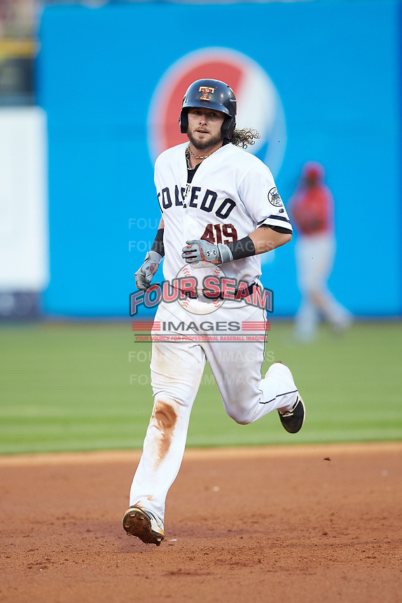 Jarrod Saltalamacchia (39) of the Toledo Mud Hens rounds the bases after hitting a home run against the Louisville Bats at Fifth Third Field on June 16, 2018 in Toledo, Ohio. The Mud Hens defeated the Bats 7-4.  (Brian Westerholt/Four Seam Images)