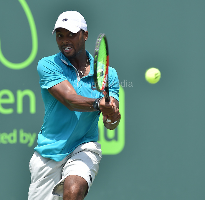 KEY BISCAYNE, FL - MARCH 27: Andy Murray of Great Britain defeats Donald Young of the United States in their second round match during the Miami Open Presented by Itau at Crandon Park Tennis Center on March 27, 2015 in Key Biscayne, Florida<br /> <br /> <br /> People:  Donald Young<br /> <br /> Transmission Ref:  FLXX<br /> <br /> Must call if interested<br /> Michael Storms<br /> Storms Media Group Inc.<br /> 305-632-3400 - Cell<br /> 305-513-5783 - Fax<br /> MikeStorm@aol.com