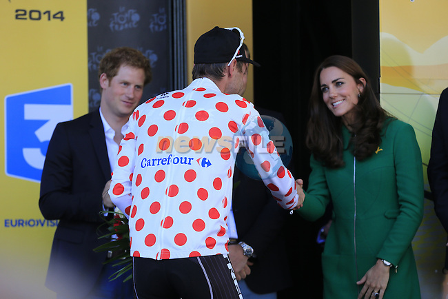 Jens Voigt (GER) Trek Factory Racing wins the 1st Polka Dot Jersey greets HRH The Duchess of Cambridge at the end of the 2014 Tour de France running 190.5km from Leeds to Harrogate. 5th July 2014.<br /> Picture: Eoin Clarke www.newsfile.ie