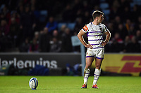 George Ford of Leicester Tigers lets the clock elapse for half-time before kicking for the posts. Gallagher Premiership match, between Harlequins and Leicester Tigers on May 3, 2019 at the Twickenham Stoop in London, England. Photo by: Patrick Khachfe / JMP
