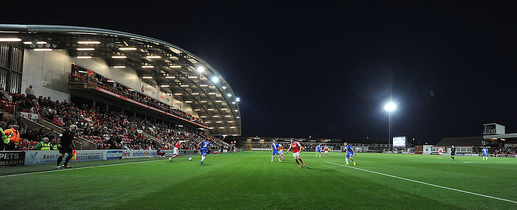 A general night time view of Highbury stadium, home of Fleetwood Town<br /> <br /> Photographer Dave Howarth/CameraSport<br /> <br /> Football - Capital One Cup First Round - Fleetwood Town v Hartlepool United - Tuesday 11th August 2015 - Highbury Stadium - Fleetwood<br />  <br /> &copy; CameraSport - 43 Linden Ave. Countesthorpe. Leicester. England. LE8 5PG - Tel: +44 (0) 116 277 4147 - admin@camerasport.com - www.camerasport.com