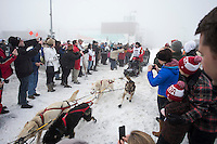 Iditarod champion Dallas Seavey runs past spectaors at the A street crossing on 4th avenue during the ceremonial start of the Iditarod sled dog race Anchorage Saturday, March 2, 2013. ..Photo (C) Jeff Schultz/IditarodPhotos.com  Do not reproduce without permission