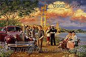 Dona Gelsinger, LANDSCAPES, paintings, river, bridge, car(USGE9502,#L#) Landschaften, Schiffe, paisajes, barcos, llustrations, pinturas
