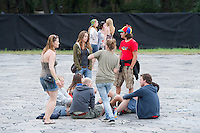 Participants wait for a concert in front of the Main Stage to start on Sziget festival held in Budapest, Hungary on August 07, 2011. ATTILA VOLGYI