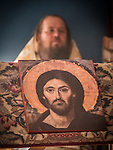 Icon of Jesus Christ, Pantocrator, First Monastic Liturgy, St. Silhouan Monastery, Columbia, California.<br /> <br /> With Archimandrite Irinei