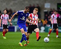 Lincoln City's Elliott Whitehouse vies for possession with Chesterfield's Scott Wiseman<br /> <br /> Photographer Andrew Vaughan/CameraSport<br /> <br /> The EFL Sky Bet League Two - Lincoln City v Chesterfield - Saturday 7th October 2017 - Sincil Bank - Lincoln<br /> <br /> World Copyright &copy; 2017 CameraSport. All rights reserved. 43 Linden Ave. Countesthorpe. Leicester. England. LE8 5PG - Tel: +44 (0) 116 277 4147 - admin@camerasport.com - www.camerasport.com