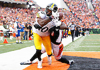 Martavis Bryant #10 of the Pittsburgh Steelers comes close to catching a pass in the end zone before dropping it in front of Dre Kirkpatrick #27 of the Cincinnati Bengals in the second quarter during the game at Paul Brown Stadium on December 12, 2015 in Cincinnati, Ohio. (Photo by Jared Wickerham/DKPittsburghSports)