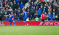 Callum Paterson of Cardiff City scores his side's third goal during the Sky Bet Championship match between Cardiff City and Sunderland at the Cardiff City Stadium, Cardiff, Wales on 13 January 2018. Photo by Mark  Hawkins / PRiME Media Images.