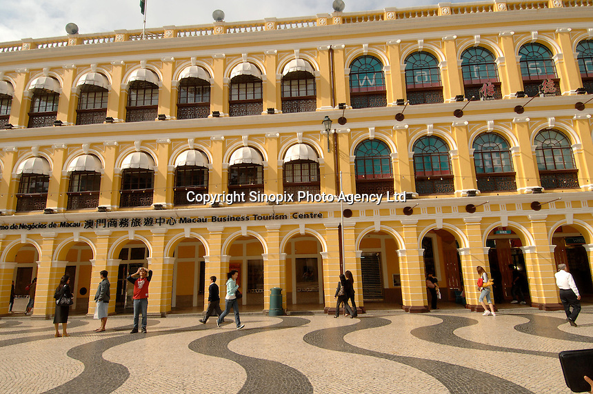 Macau Business Tourism Centre on Leal Senado Square in Macau.  Macau is an ex-Portuguese colony, a cluster of islands and a peninsula in the South China Sea, that was handed back to the Chinese in 1999. It has a strong Chinese flavour but also retains many colonial buildings as well as becomming known as the Vegas of the Far East with a plethero of new Casino's in operation and more being built..