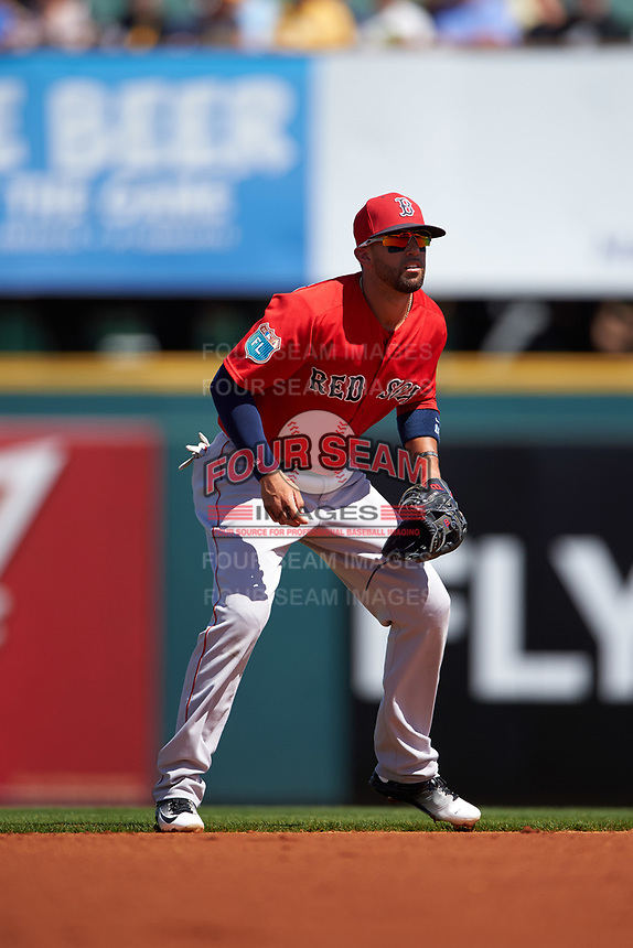 Boston Red Sox shortstop Deven Marrero (16) during a Spring Training game against the Pittsburgh Pirates on March 9, 2016 at McKechnie Field in Bradenton, Florida.  Boston defeated Pittsburgh 6-2.  (Mike Janes/Four Seam Images)