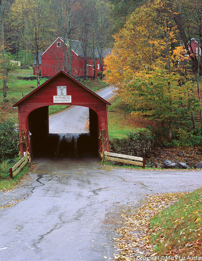 Windham County, VT<br /> Green river covered bridge (1870) spanning the Green river in late fall