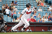 Nashville Sounds first baseman Hunter Morris (25) at bat during the first game of a double header against the Omaha Storm Chasers on May 21, 2014 at Herschel Greer Stadium in Nashville, Tennessee.  Nashville defeated Omaha 5-4.  (Mike Janes/Four Seam Images)